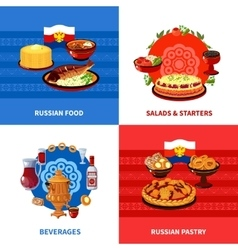 Russian Food 4 Flat Icons Square vector image vector image