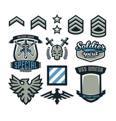 set of military and military badges emblems vector image