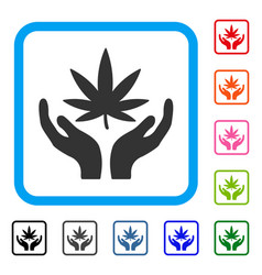 cannabis care framed icon vector image vector image
