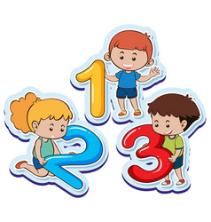 happy children with number one two three vector image vector image