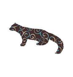 Marten wildlife color silhouette animal vector