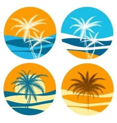 Palm paradise logo set vector image vector image