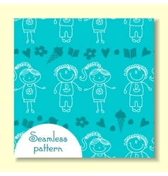 seamless pattern with of children vector image vector image
