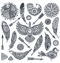 set of hand drawn ethnic elements birds feathers vector image vector image