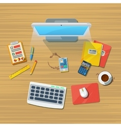 Work Place Office Flat Icon Print vector image