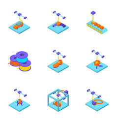 3d printer icons set isometric style vector