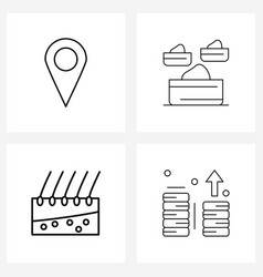 4 universal line icons for web and mobile map vector