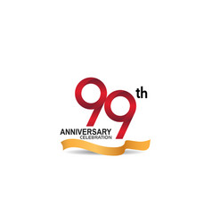 99 anniversary design logotype red color vector