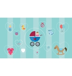 baby icon collection set with soft color vector image