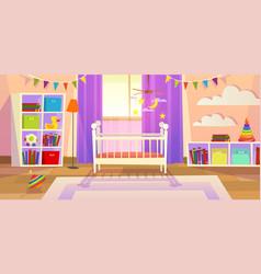 Baby room interior nursery bedroom newborn vector
