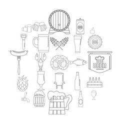 Beer icons set outline style vector