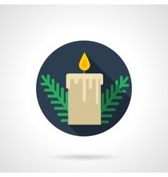 Beige Xmas candle round flat icon vector image