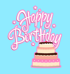 Birthday greeting card with decorative cake vector