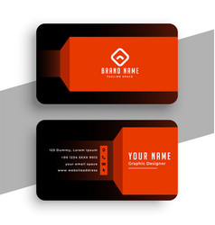 Black and orange geometric business card template vector