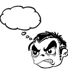 Black and white angry boy head with thought bubble vector