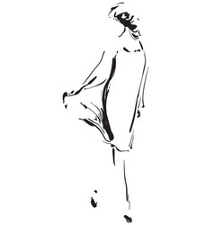 black and white fashion model in sketch style vector image