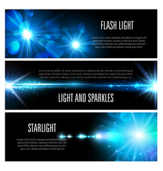 Blue light effect banner set with star shine vector
