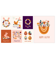 Boho easter concept design greeting cards with vector