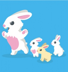 bunny family vector image
