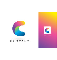 c logo letter with rainbow vibrant beautiful vector image