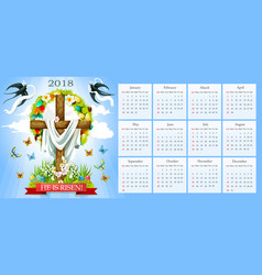Calendar easter crucifix and paschal eggs vector