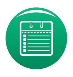 calendar list icon green vector image