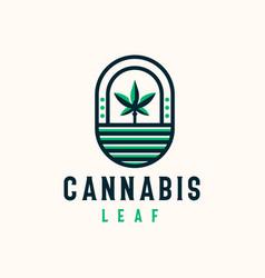 Cannabis leaf bagde logo template vector