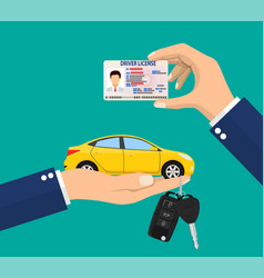 Car driver license identification card in hand vector
