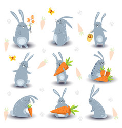 cartoon bunny rabbit characters icons for vector image