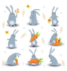Cartoon bunny rabbit characters icons vector