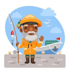 cartoon fisherman with fishing rod vector image
