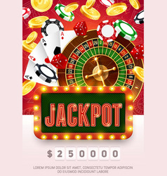 casino poker cards chips and wheel fortune vector image