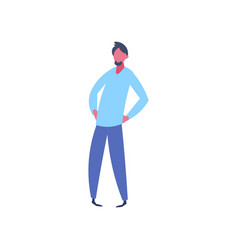 casual man character akimbo pose isolated male vector image