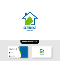 Cat house logo free business card vector