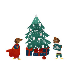 Christmas tree presents and two dog characters vector