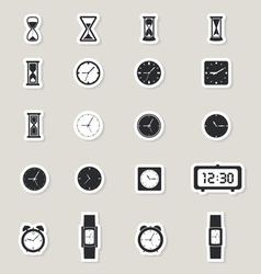 Clock web icons set vector