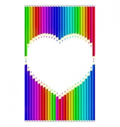 color pencils heart shaped vector image