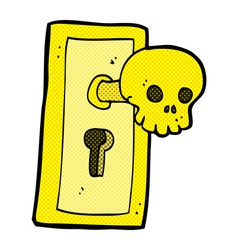 Comic cartoon spooky door knob vector
