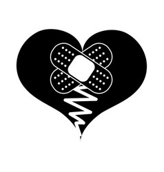 contour heart love broken with aid band vector image