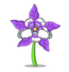 Crying columbine flower mascot cartoon vector
