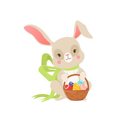 cute cartoon bunny in green bow holding basket vector image
