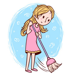 Cute girl sweeping floor vector