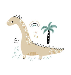cute hand drawn dinosaur cartoon dino with palm vector image