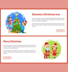 decorated christmas tree merry christmas web site vector image