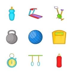 Exercise room icons set cartoon style vector image