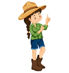 Farm girl in green shirt vector