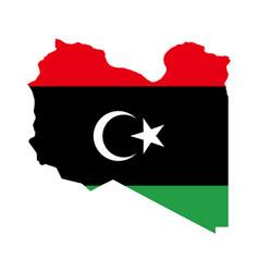 Flag in map libya vector