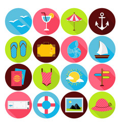 Flat Summer Icons Set vector