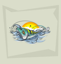 Freehand drawing lures on water and a vector