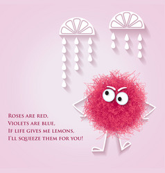 Funny banner with fluffy pink creature and lyrics vector